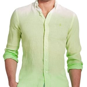 New Polo Ralph Lauren DIP Dyed Ombre LINEN SHIRT